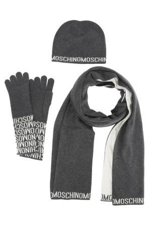 Комплект: шапка, шарф, перчатки Moschino. Цвет: серый, белый