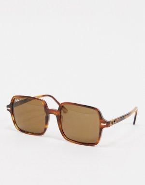 Солнцезащитные очки в квадратной черепаховой оправе Ray-ban ORB1973-Коричневый