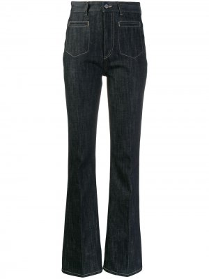 Расклешенные джинсы с завышенной талией Moncler. Цвет: синий