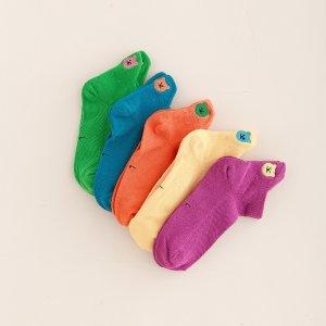 Детский 5 пар Носки до щиколотки медведя вышивкой SHEIN. Цвет: многоцветный
