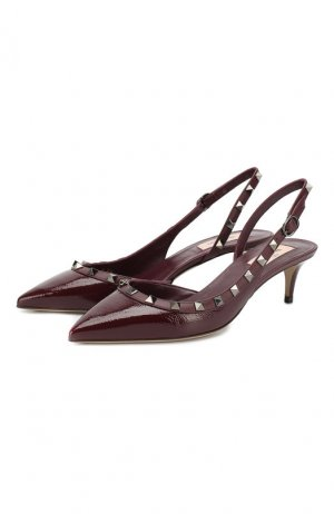 Кожаные туфли Garavani Rockstud Valentino. Цвет: бордовый