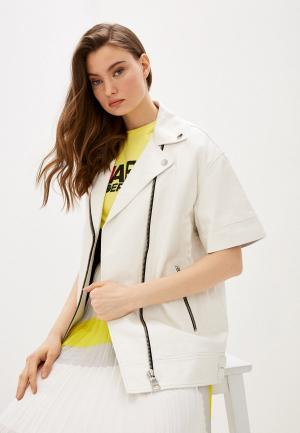Куртка кожаная Karl Lagerfeld. Цвет: белый