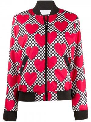 Куртка-бомбер в клетку Love Moschino. Цвет: белый