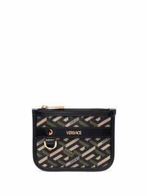 Кошелек для монет с узором La Greca Versace. Цвет: черный