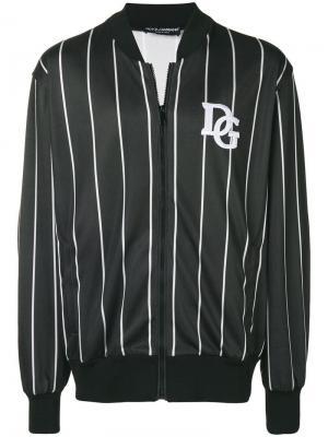 Куртка-бомбер в полоску Dolce & Gabbana. Цвет: черный