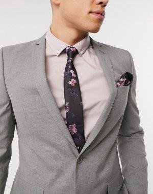 Галстук и платок для нагрудного кармана с цветочным принтом -Черный Religion