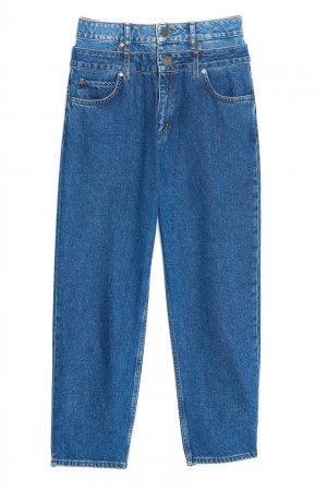 Синие укороченные джинсы Sandro. Цвет: синий