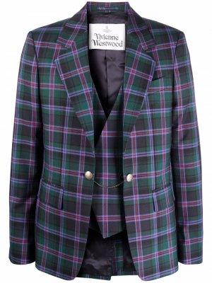 Многослойный пиджак в клетку Vivienne Westwood. Цвет: фиолетовый