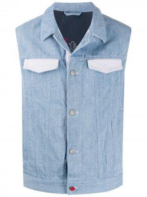 Джинсовый жилет с контрастными карманами Kiton. Цвет: синий