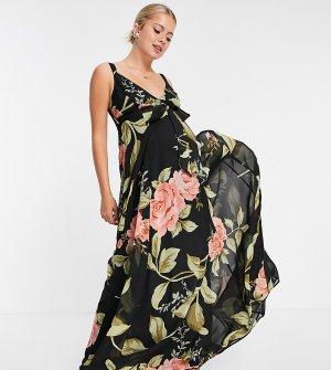 Платье макси на бретелях с запахом, ремешками спине и крупным цветочным принтом ASOS DESIGN Maternity-Черный цвет Maternity