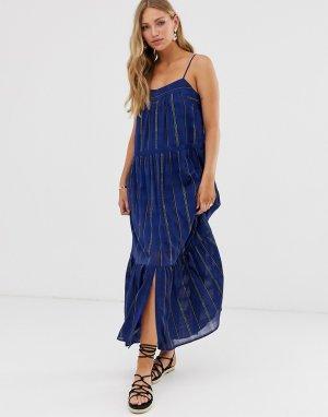 Платье макси в полоску BA&SH. Цвет: синий