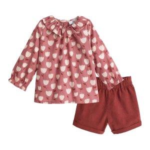 Комплект из 2 вещей блуза LaRedoute. Цвет: каштановый