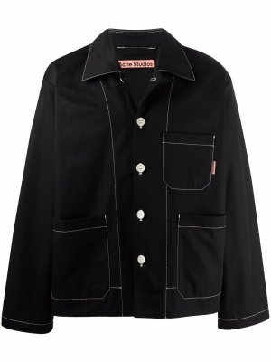 Куртка-рубашка с контрастной строчкой Acne Studios. Цвет: черный