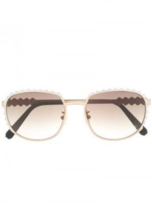 Солнцезащитные очки с фестонами Philipp Plein. Цвет: золотистый
