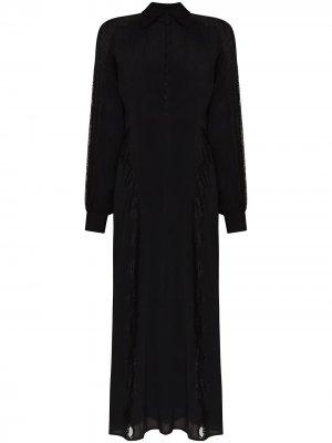 Кружевное платье на пуговицах byTiMo. Цвет: черный