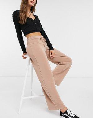 Широкие домашние брюки телесного цвета на шнурке -Светло-коричневый Pieces