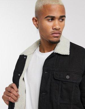 Черная джинсовая куртка с подкладкой из искусственного меха светло-бежевого цвета -Черный ASOS DESIGN