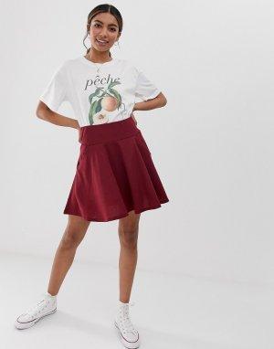 Фактурная расклешенная мини-юбка с карманами -Фиолетовый ASOS DESIGN