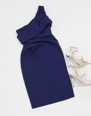 Темно-синее платье миди на одно плечо -Темно-синий Goddiva