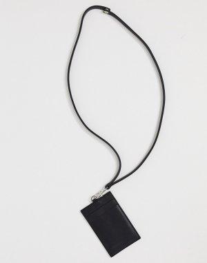 Черный кожаный кошелек на шею с ремешком и отделениями для карт ASOS DESIGN