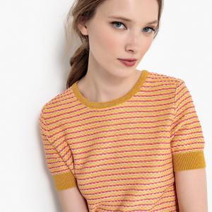 Пуловер с короткими рукавами и жаккардовым рисунком LA REDOUTE COLLECTIONS. Цвет: жаккардовая охра