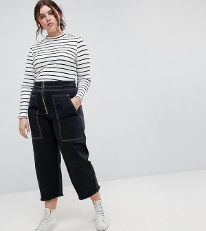 Черные широкие джинсы в стиле милитари с большими карманами и контрастными строчками ASOS DESIGN Curve. Цвет: черный
