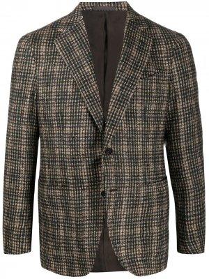 Однобортный пиджак в клетку Caruso. Цвет: зеленый
