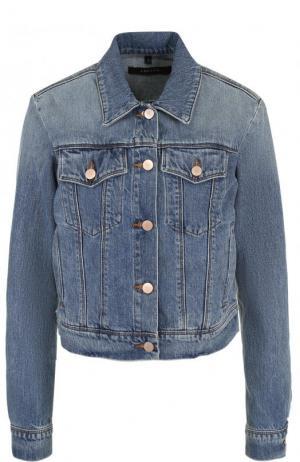 Укороченная джинсовая куртка с потертостями J Brand. Цвет: голубой