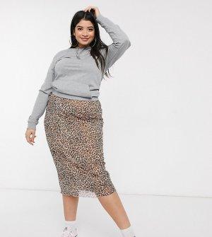 Сетчатая юбка миди с леопардовым принтом -Коричневый Daisy Street Plus