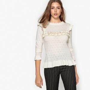Пуловер с круглым вырезом и воланами PRUNE SUNCOO. Цвет: экрю