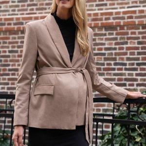 Пиджак с поясом для беременных SHEIN. Цвет: хаки