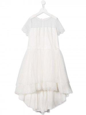 Платье с оборками из тюля Aletta. Цвет: белый