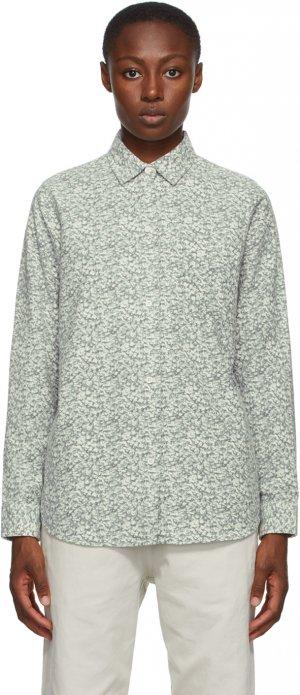 Off-White & Grey Flannel Printed Shirt Stüssy. Цвет: natural