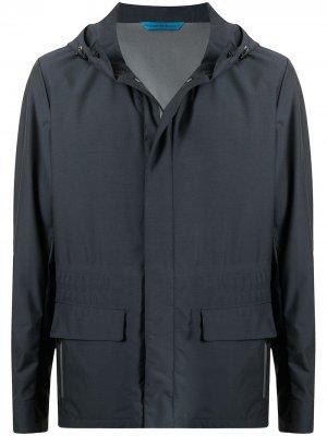 Куртка на молнии с капюшоном Stefano Ricci. Цвет: синий