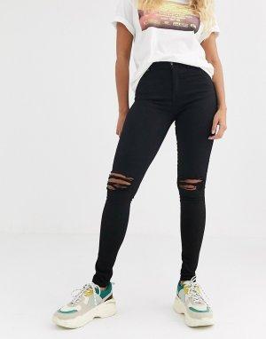 Супероблегающие рваные джинсы с классической талией Lexy-Черный Dr Denim