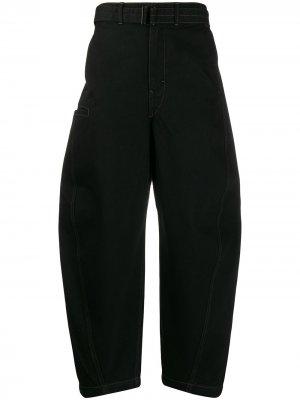 Широкие джинсы с низким шаговым швом Lemaire. Цвет: черный