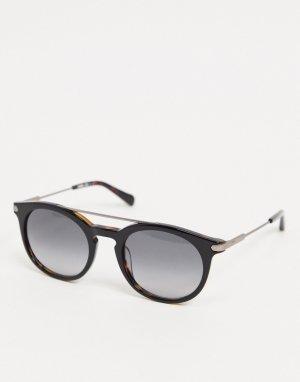 Круглые черепаховые солнцезащитные очки -Коричневый Fossil