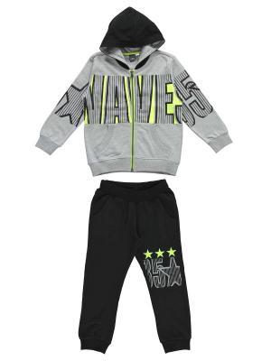 Спортивный костюм IDO. Цвет: черный, серый