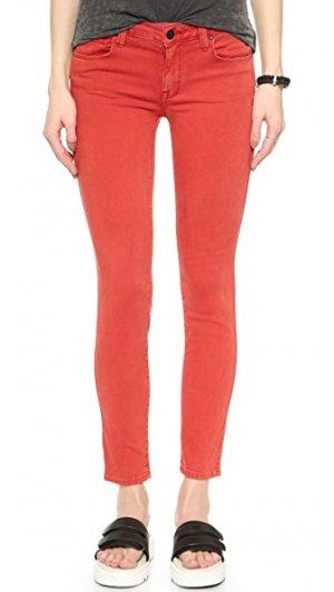 Укороченные джинсы Daphne со средней посадкой Genetic Los Angeles. Цвет: поблекший красный