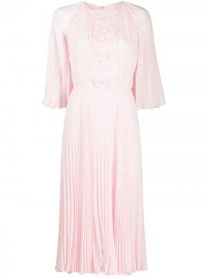 Платье с цветочной вышивкой и плиссировкой Giambattista Valli. Цвет: розовый