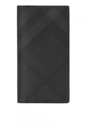 Черный бумажник в клетку Burberry. Цвет: черный