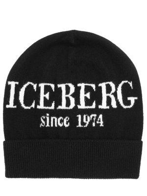 Шапка кашемировая с принтом ICEBERG. Цвет: черный