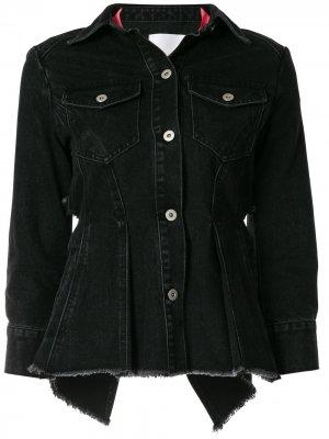 Деконструированная джинсовая куртка с открытой спиной Ground Zero. Цвет: черный