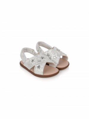 Star-patch crossover strap sandals UGG Kids. Цвет: серебристый
