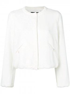 Приталенная куртка-бомбер Emporio Armani. Цвет: белый