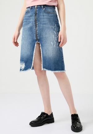 Юбка джинсовая Lime. Цвет: синий
