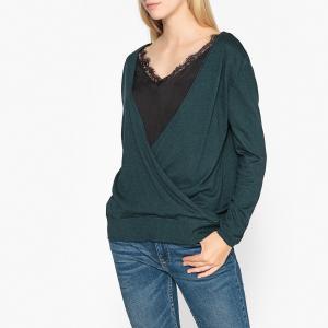 Пуловер из кружева и тонкого трикотажа IKKS. Цвет: зеленый