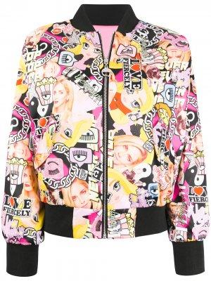 Двусторонняя куртка-бомбер с принтом Chiara Ferragni. Цвет: розовый