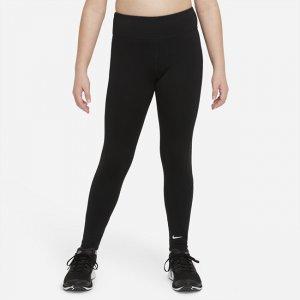 Леггинсы с графикой для девочек школьного возраста Dri-FIT One (расширенный размерный ряд) - Черный Nike