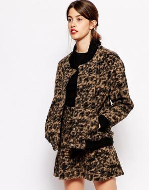 Куртка-пилот из вареной шерсти с леопардовым принтом Ganni. Цвет: леопардовый